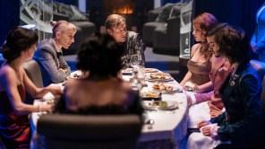 Sean Bean, Mickey Sumner, Sheila Vand, Annalise Basso, Sam Otto, Rowan Blanchard and Lena Hall in 'Snowpiercer'