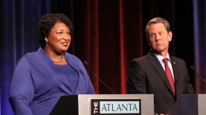 Stacey Abrams and Brian Kemp debate in 2018