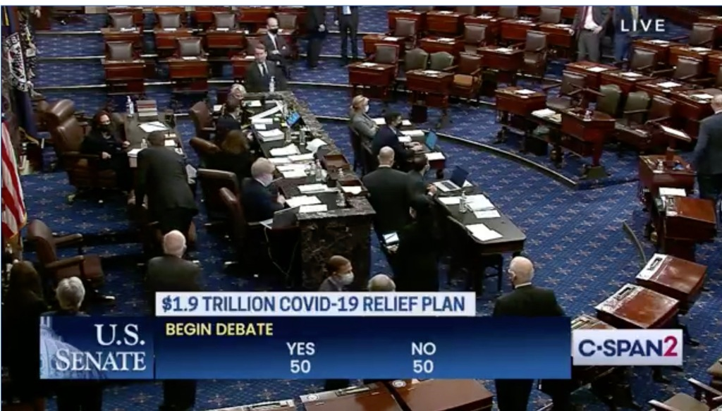 Senate Advances $1.9 Trillion Covid-19 Relief Bill; Kamala Harris Casts Tie-Breaking Vote To Start Debate.jpg