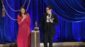 Anthony Giacchino and Alice Doyard accept the Oscar for 'Colette'