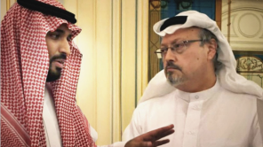 Journalist Jamal Khashoggi with Saudi Crown Prince Mohammed bin Salman in 'The Dissident'