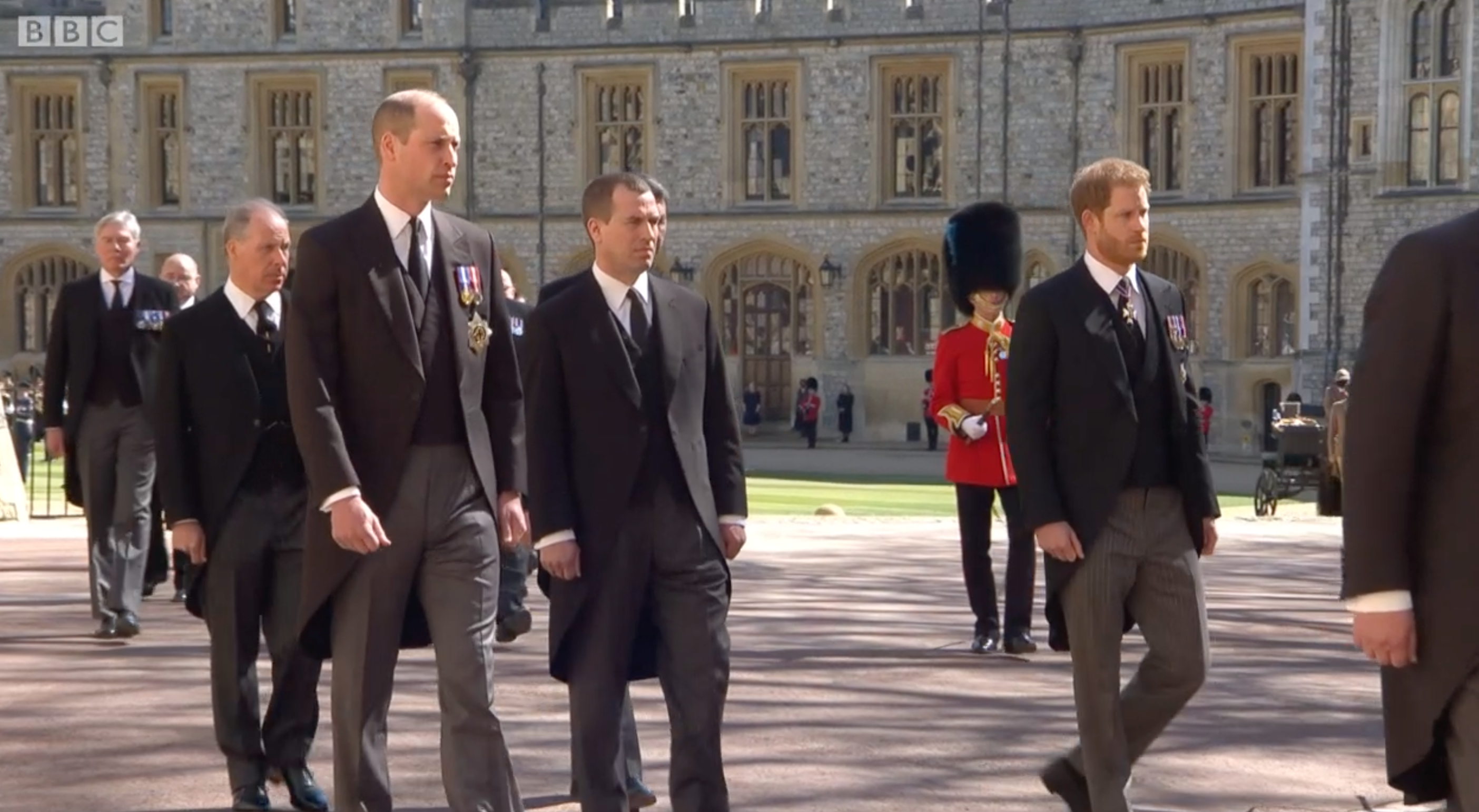 Prince Harry & Prince William Walk Behind Prince Philip's Coffin Ahead Of Their Grandfather's Funeral