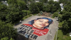 A ground mural depicting Breonna Taylor