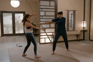 Mary Mouser and Ralph Macchio in 'Cobra Kai'