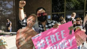 A FreeBritney demonstrator in Los Angeles