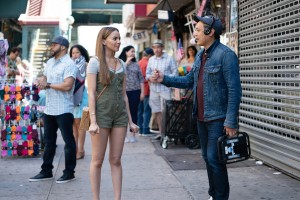 Leslie Grace and Jon M. Chu on the set of 'In The Heights'