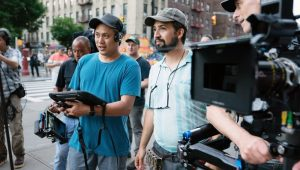 Jon M. Chu and Lin-Manuel Miranda on the set of 'In The Heights