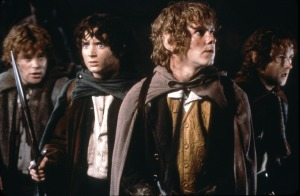 Sean Astin, Elijah Wood, Dominic Monaghan, and Billy Boyd in 'The Lord of the Rings: The Fellowship of the Ring'