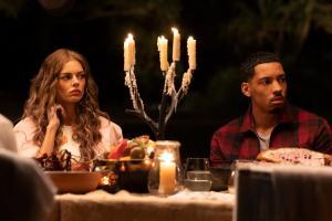 Samara Weaving and Melvin Gregg in 'Nine Perfect Strangers'
