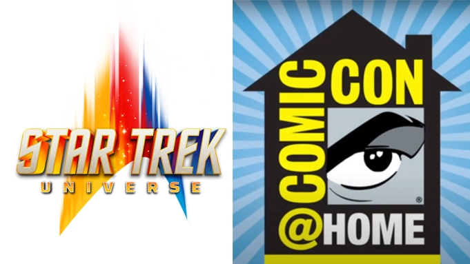 The logos for the Star Trek Universe franchise, and Comic-Con@Home.