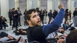 Ady Barkan at a Capitol Hill protest
