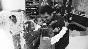 Muhammad Ali visits his old grammar school in Louisville, KY
