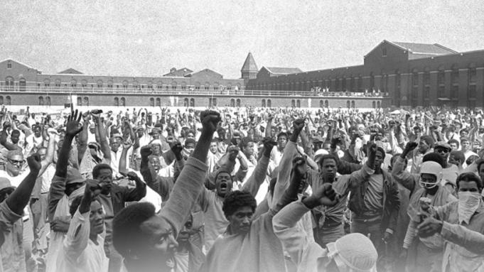Prisoners during the Attica uprising